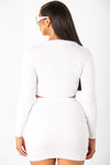 White Long Sleeve Mini Rib Set