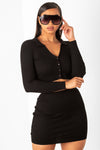 Black Long Sleeve Mini Rib Set