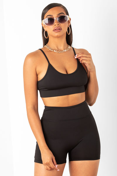 Black Athletic Shorts & Bra Set