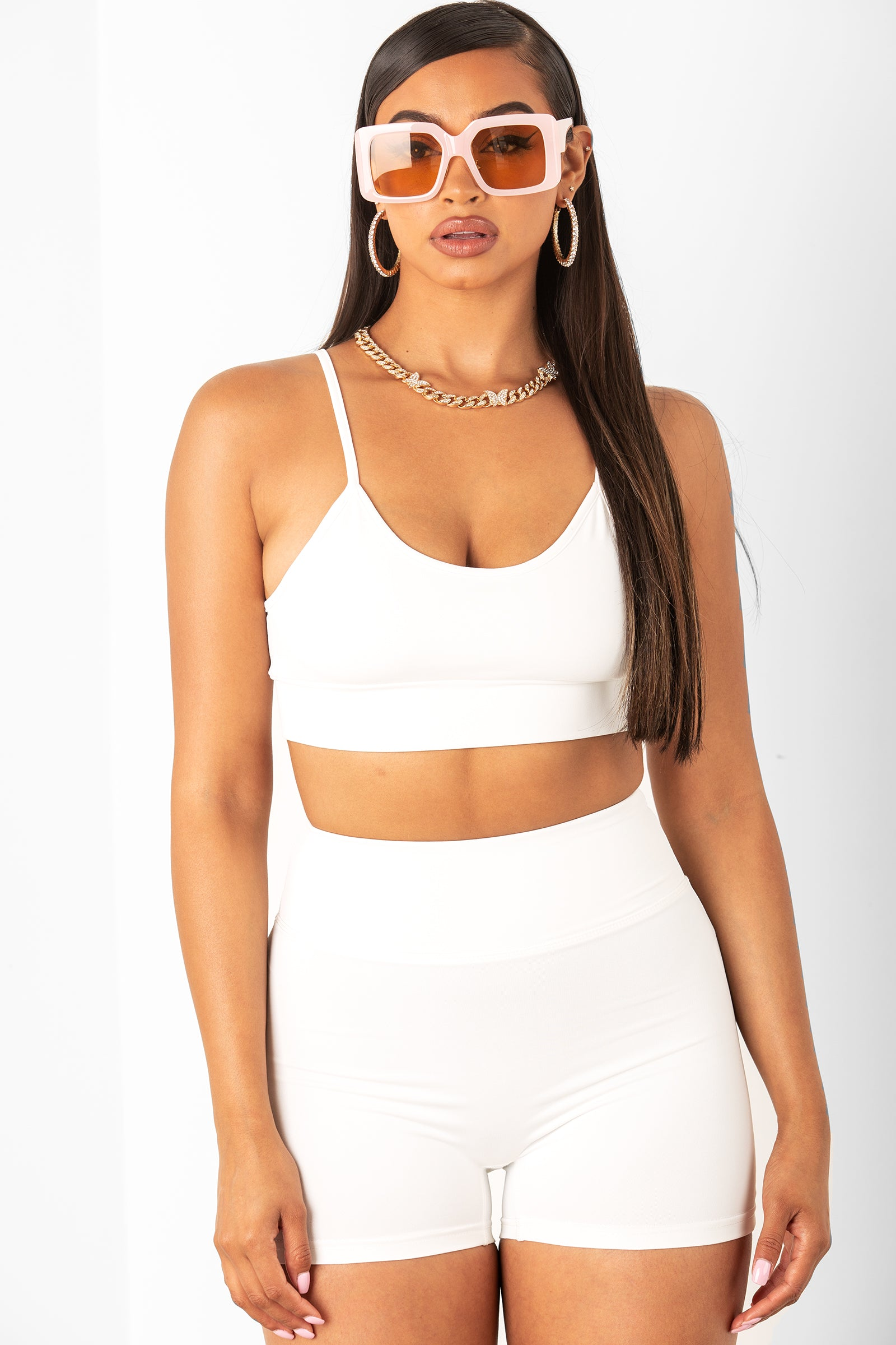 White Athletic Shorts & Bra Set