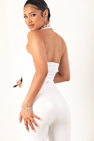 White Thick Ribbed Square Neck Halter Top