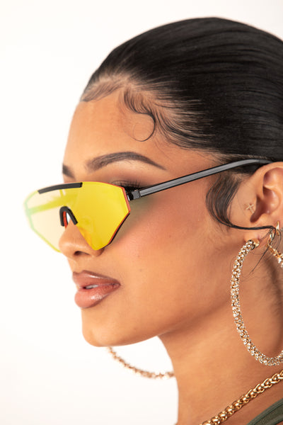 Yellow Tint Triangle Sunglasses
