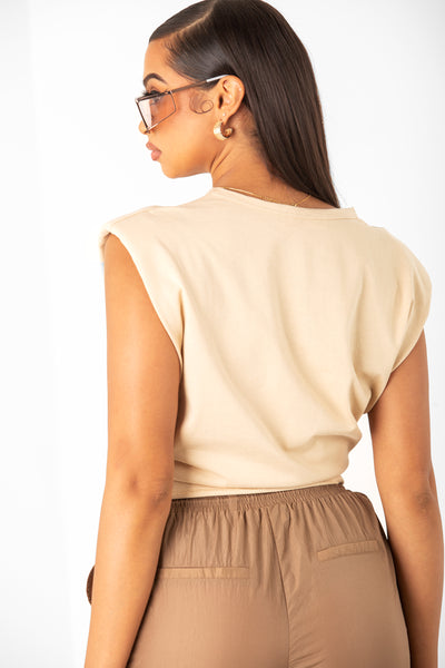 Beige Shoulder Pad Tee