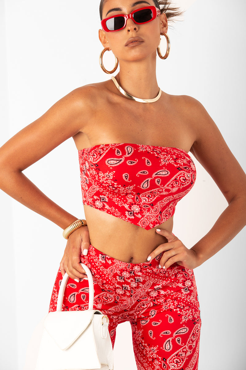 Paisley Bandeau Red