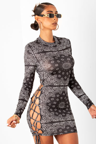 Black Paisley Print Dress