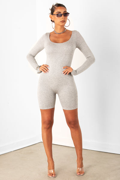 Grey Long Sleeve Unitard