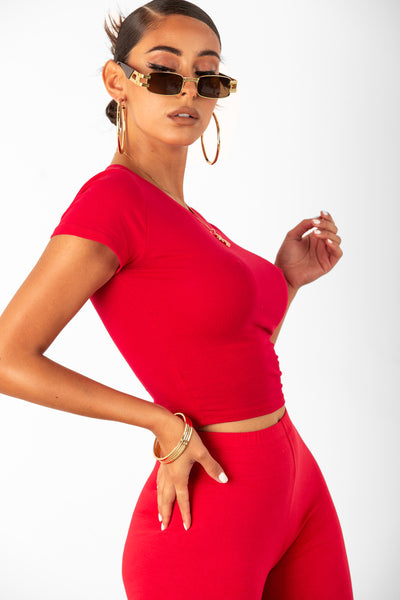 Red Basic Short Sleeve Crop