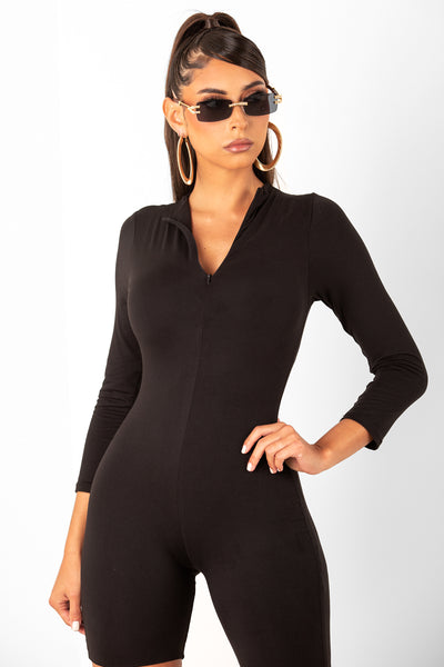 Black Long Sleeve Zip Up Romper