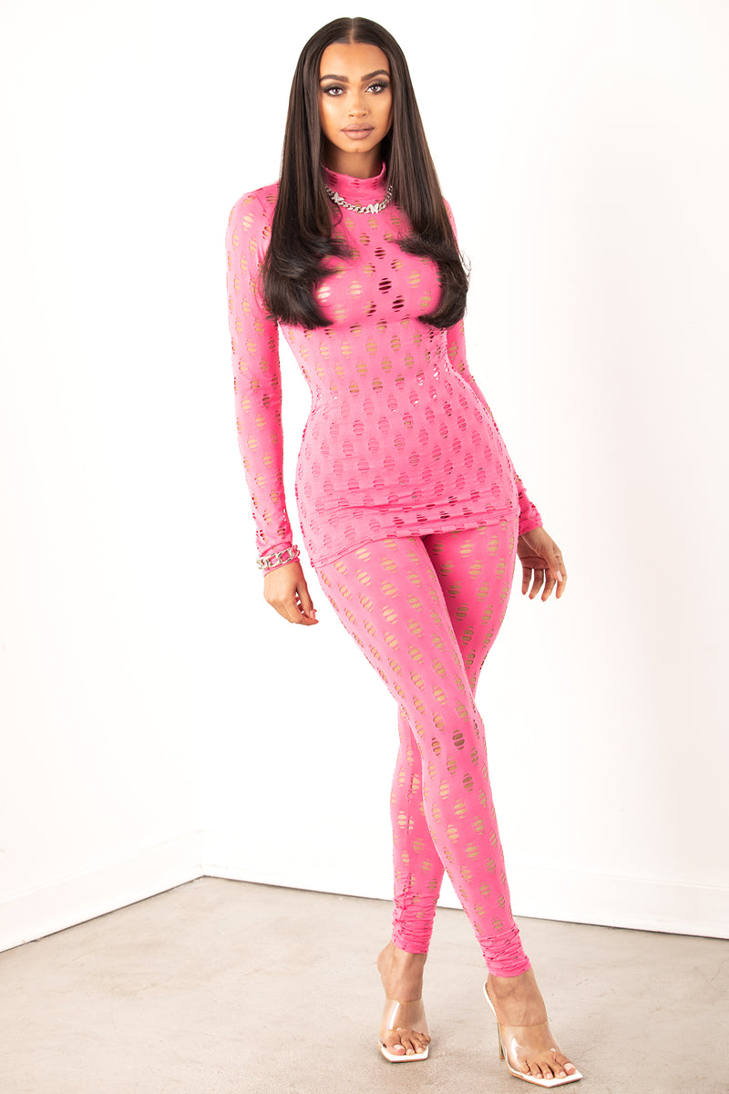 Hollow Out Fishnet Set- Pink