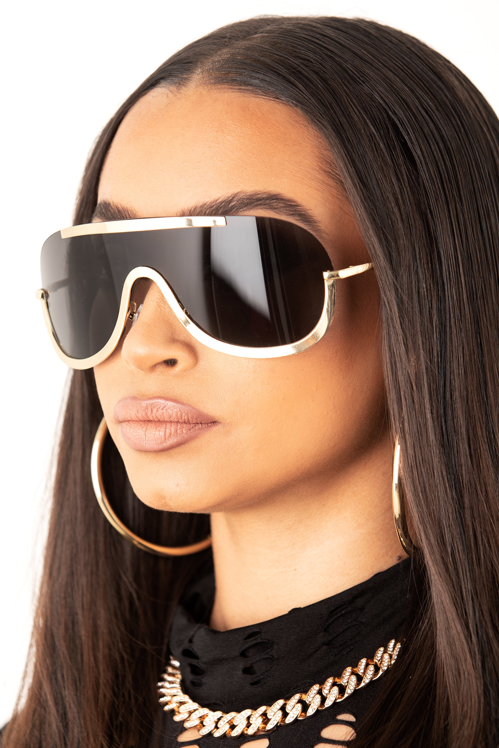 Gold/ Black Unisex Metal Rimless Sunglasses