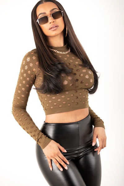 Long Sleeve Punched Mesh Top- Olive