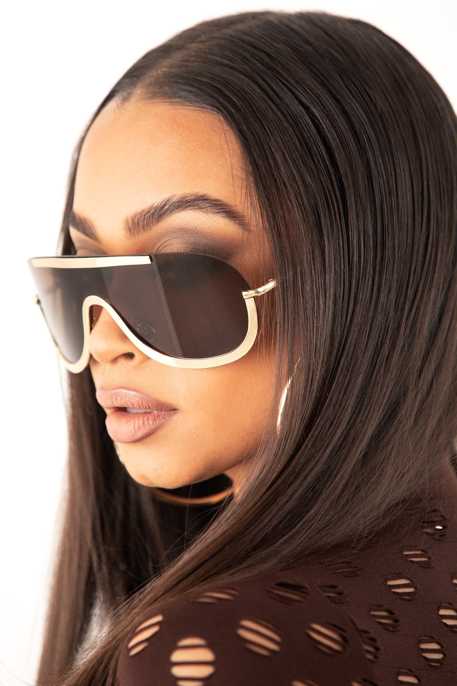 Gold/ Brown Unisex Metal Rimless Sunglasses