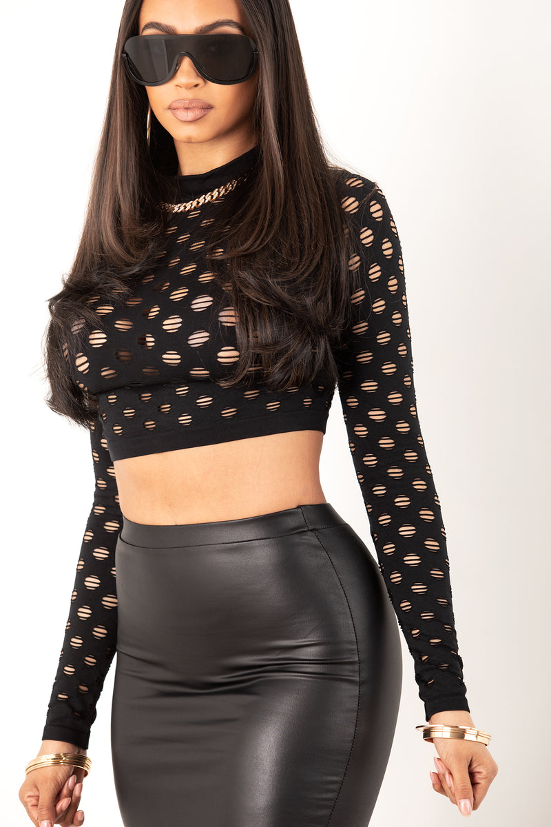 Long Sleeve Punched Mesh Top- Black