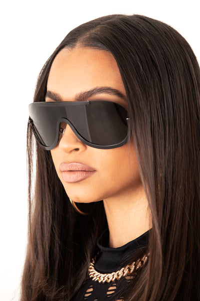 Black Unisex Metal Rimless Sunglasses