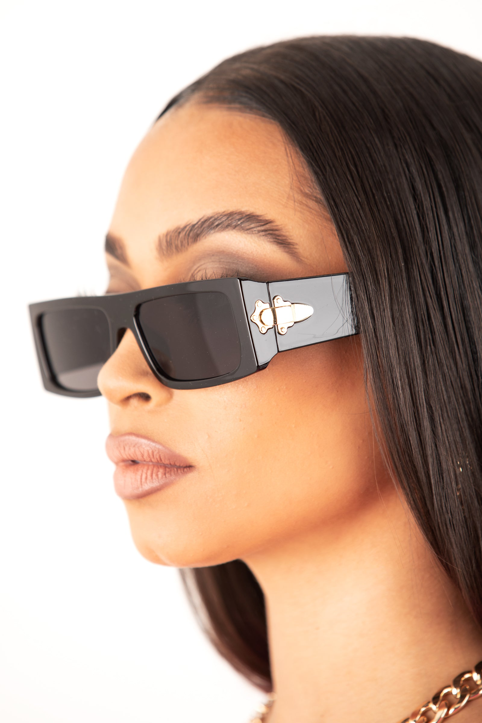 Black Streets Rectangular Sunglasses