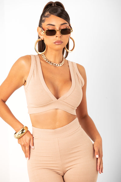 Nude Ribbed Deep V Crop