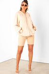 Tan Thick Rib Biker Shorts