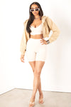Cream Ribbed Biker Shorts