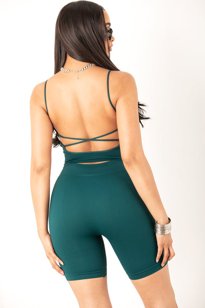 Teal Low Back Crop Top