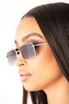 Silver Metal Square Frame Sunglasses