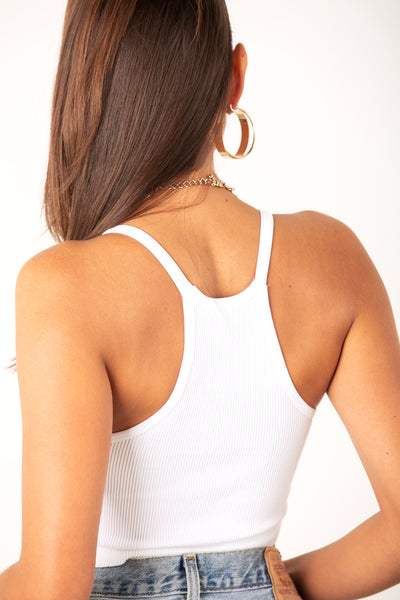 White Thick Ribbed Racerback Crop Tank