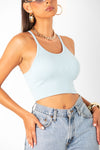 Blue Thick Ribbed Racerback Crop Tank