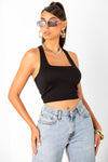 Black Square Neck Rib Racerback Tank