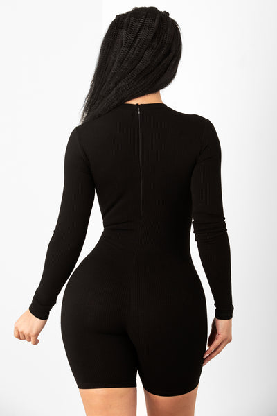 Black Long Sleeve Zip Up Unitard