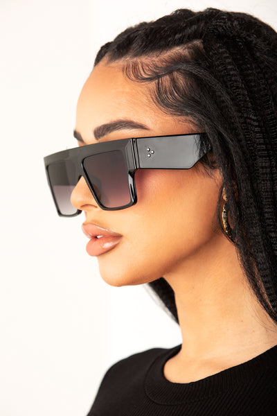 Black Chunky Rectangular Frame Sunglasses