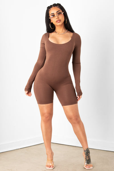 Brown Long Sleeve Unitard