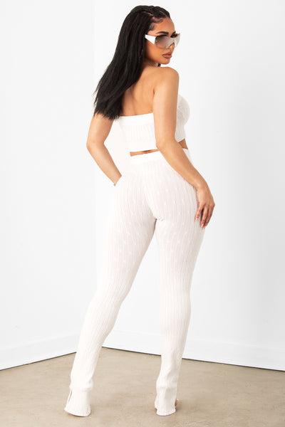 Cream Knit Leggings & Bandeau Set