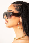 Grey Chunky Rectangular Frame Sunglasses