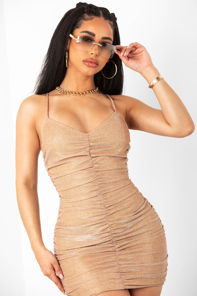 Gold Glitter Ruched Dress