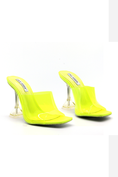 Lime Clear Square Toe Heel