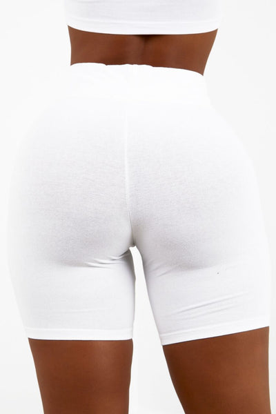 White Cotton Biker Shorts