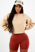 Thick Cropped Crew Neck - Sand