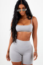 Sporty Biker Short Set - Grey
