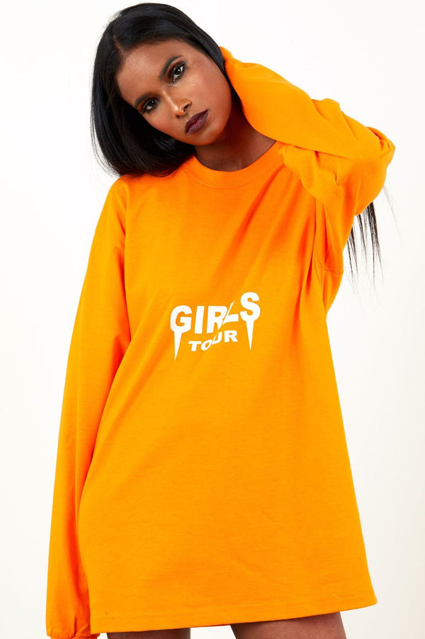 Girls Tour Long Sleeve Tee - Orange