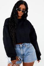 Thick Cropped Crew Neck - Black