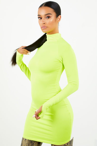 Long Sleeve Zip Up Dress - Safety Green
