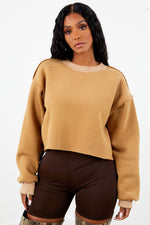 Thick Cropped Crew Neck - Tan