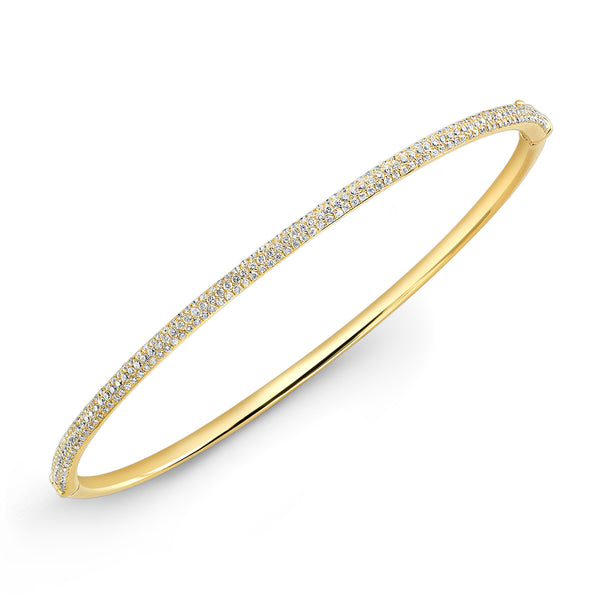 18k Three Row Micro Pave Diamond Bangle