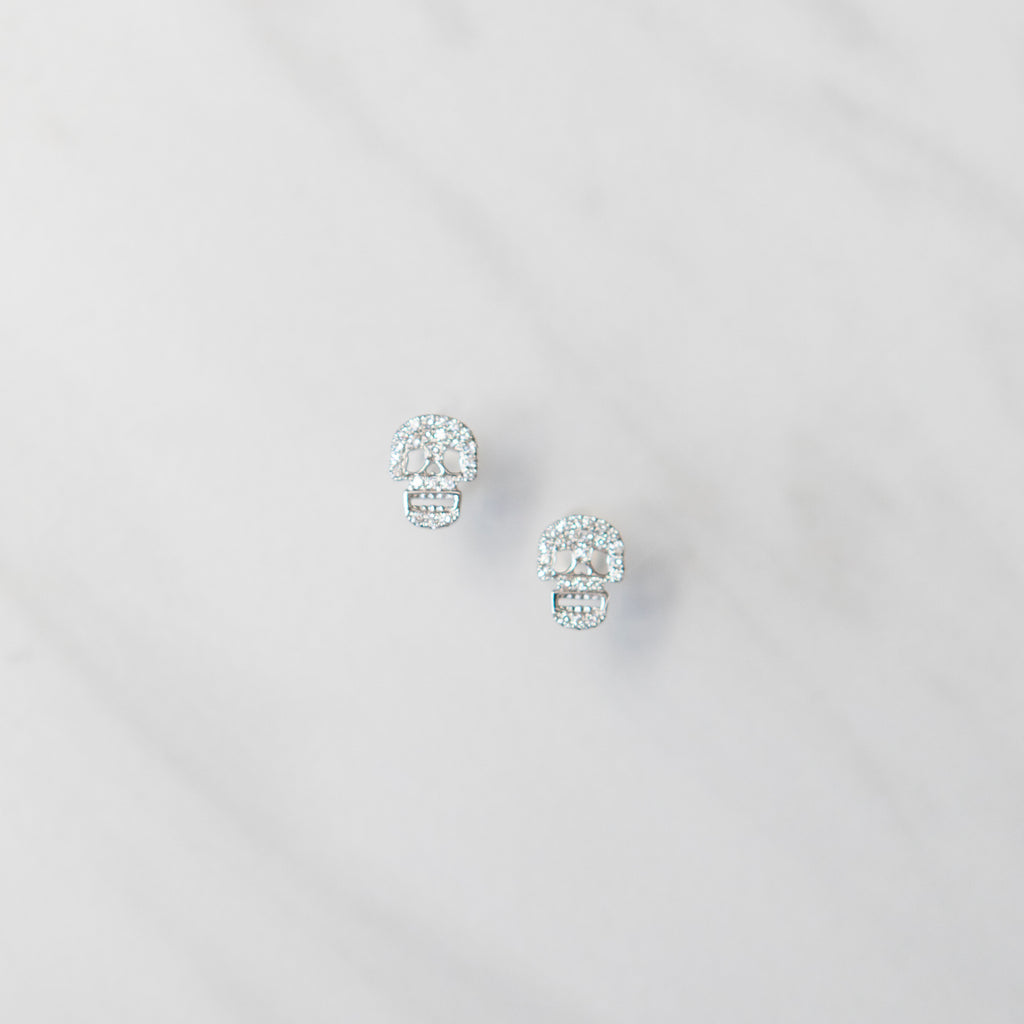 Diamond Pave Skull Studs in White Gold