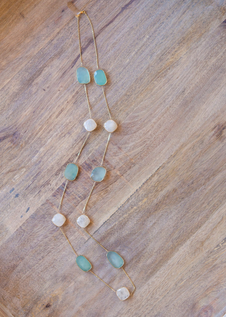 Capri Necklace with Aquamarine and Rainbow Moonstone