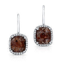 Bespoke Rose Cut Chocolate Diamond Earrings
