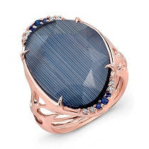 Bespoke Italian Blue Sapphire and Quartz Ring