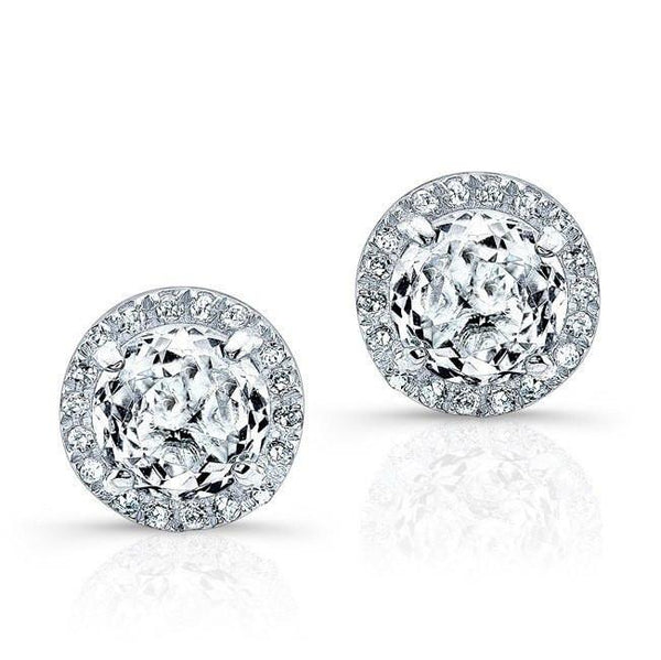 Diamond Halo White Topaz Earrings