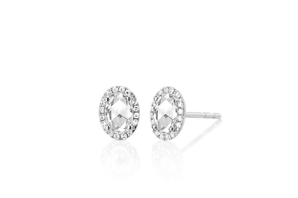 Oval White Topaz and Diamond Halo Stud Earrings
