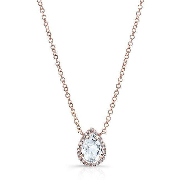 Pear Shaped Rose Cut White Topaz Halo Necklace