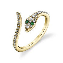 Diamond Pave and Emerald Eye Snake Ring in 14K White Gold